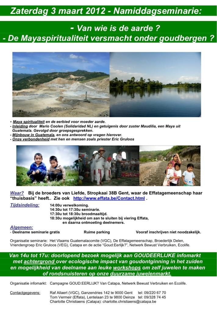 namiddagseminarie op 3 maart rond Maya spiritualiteit en mijnbouw